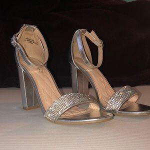 Bamboo Silver Heels with Rhinestones